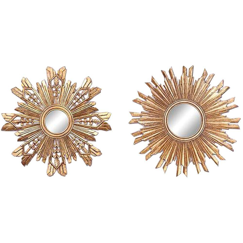 Home Decorators Collection Sunburst 23.5 in. H x 23.5 in. W Framed Wall Mirrors in Gold (Set of 2)