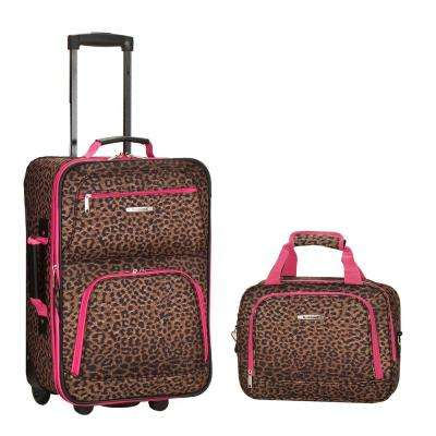 Rockland Rio Expandable 2-Piece Carry On Softside Luggage Set, Pinkleopard