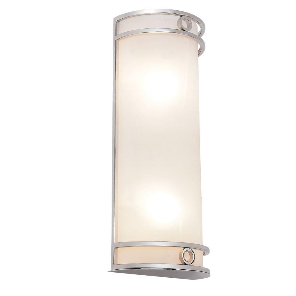 Bel Air Lighting Cabernet Collection 2-Light Polished Chrome Sconce with White Frosted Shade
