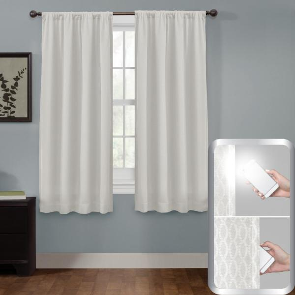 Blackout Jamie Smart 50 in. x 63 in. Window Curtain Panel in Bleached Linen