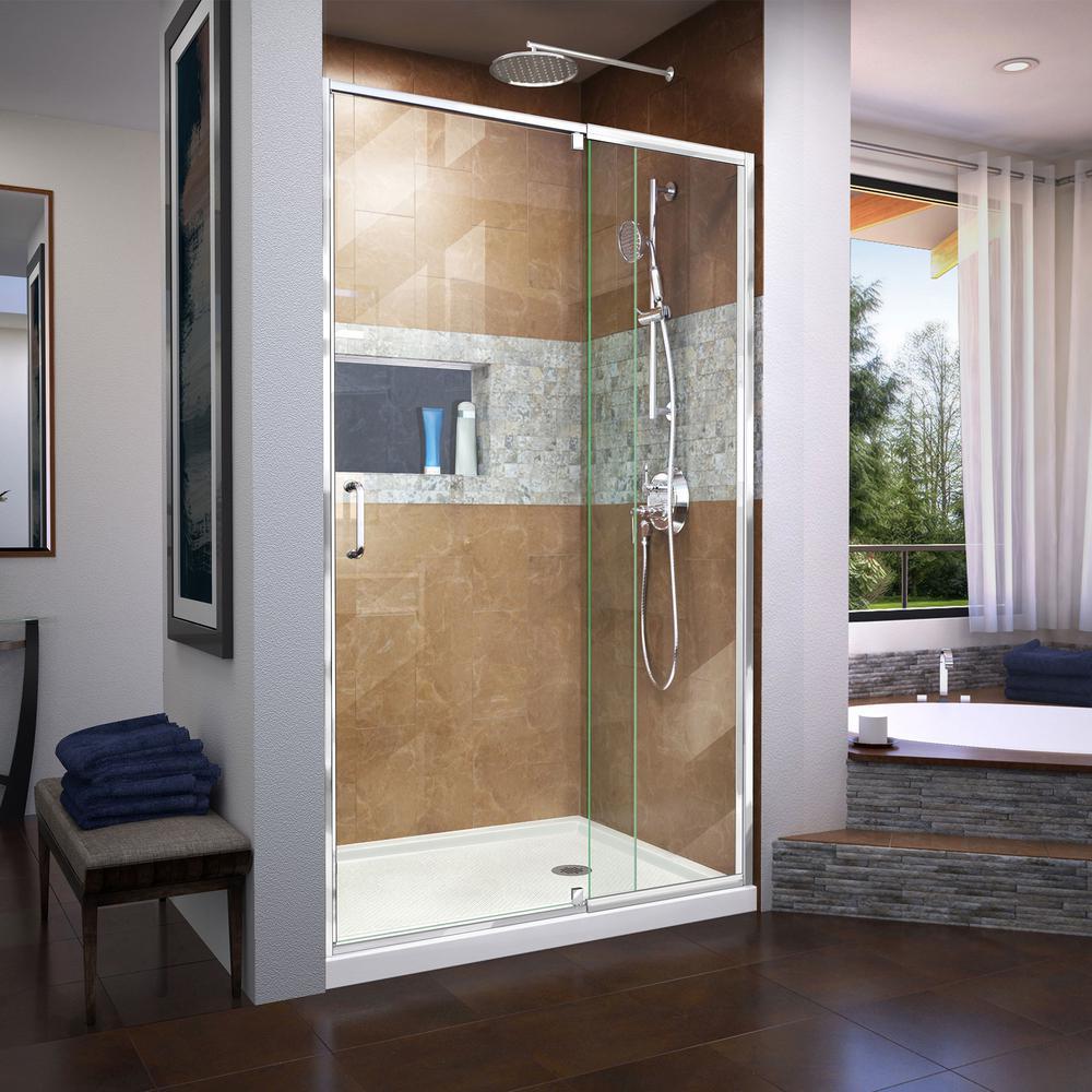 Dreamline Flex 38 To 42 In X 72 In Framed Pivot Shower Door In Chrome Shdr 22427200 01 The Home Depot