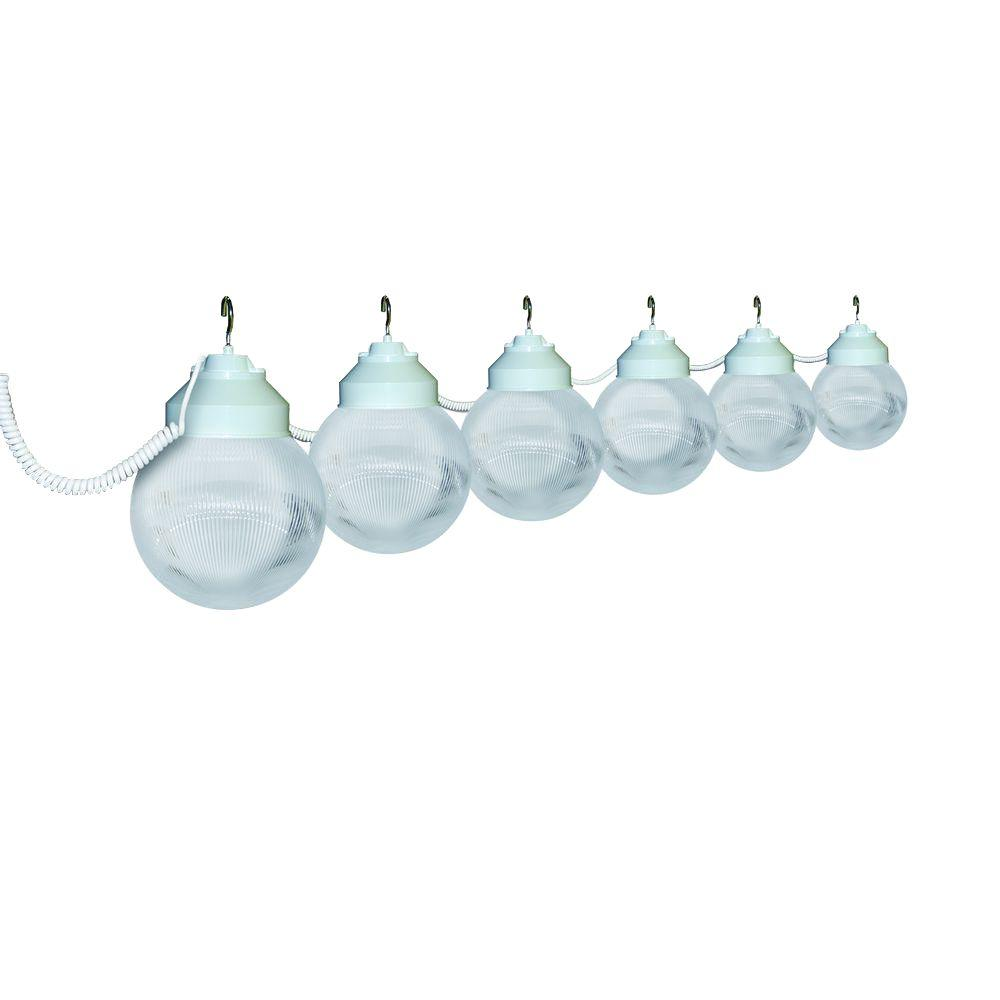 6-Light Outdoor White and Clear Prismatic String Light Set