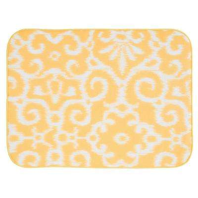 iDry 24 in. x 18 in. X-Large Kitchen Mat in Yellow/White Ikat