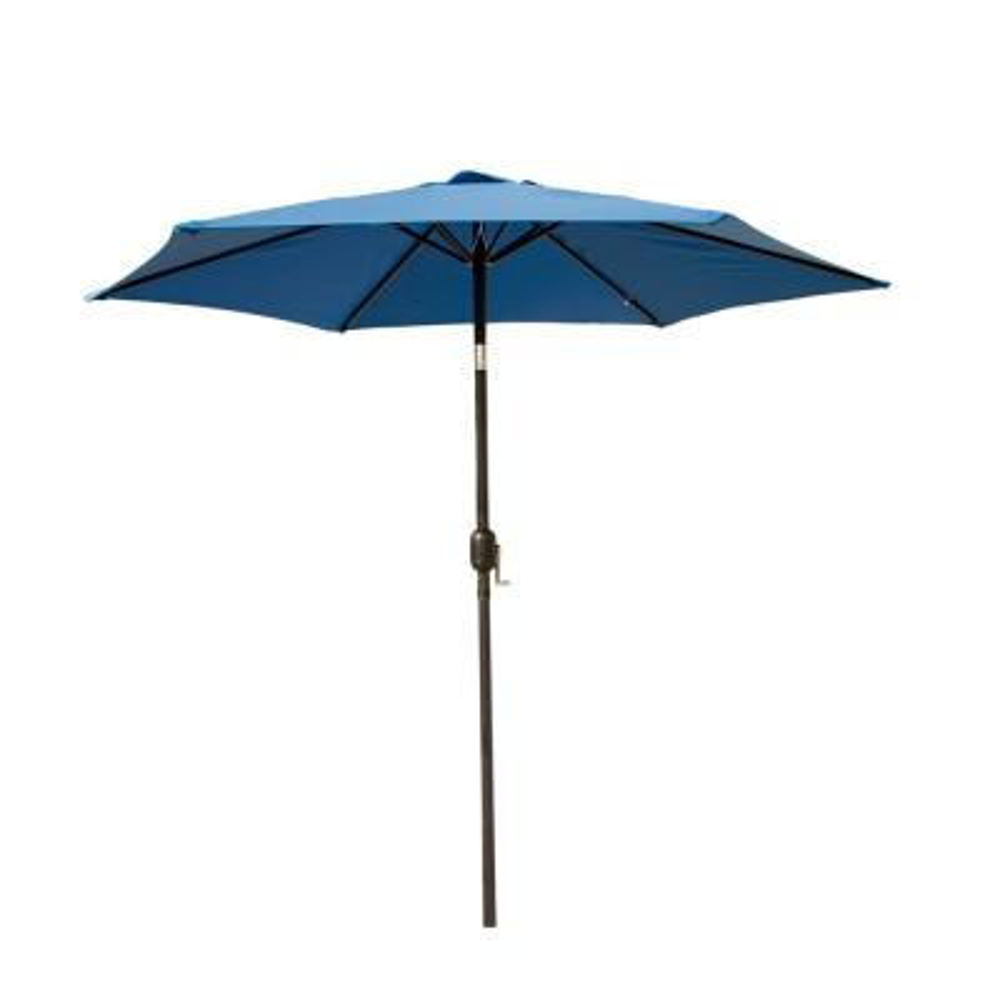9 ft. Market Crank-Tilt Outdoor Garden Patio Beach Umbrella in Blue