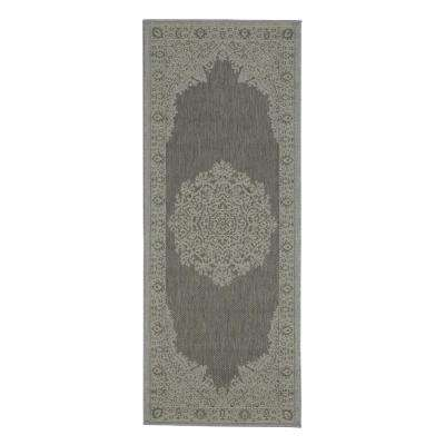 Jardin Collection Dark Gray Oriental Design Indoor/Outdoor 3 ft. x 7 ft. Jute Back Runner Rug