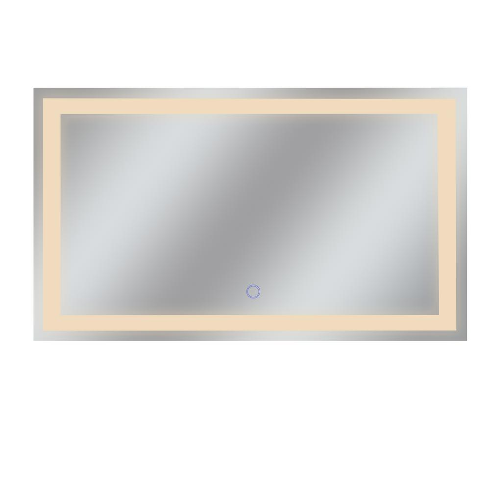 Dyconn Edison Tri-Color 60 in. x 35 in. Single LED Wall Mounted Backlit LED Bathroom Mirror