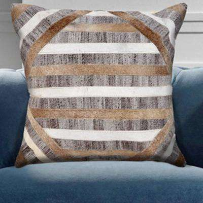 Textured Natural Brown and Beige 20 in. x 20 in. Throw Pillow
