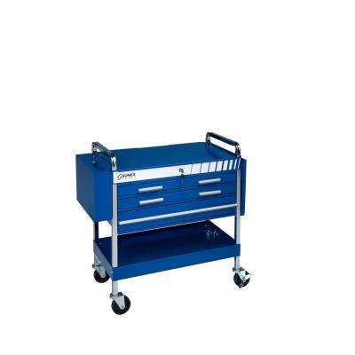 Deluxe 22 in. 4-Drawer Flip Top Utility Cart in Blue