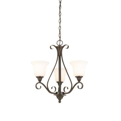 3-Light Oil Rubbed Bronze Chandelier with Frosted White Glass Shades