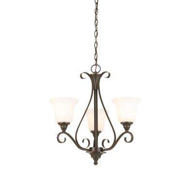 3-Light Oil Rubbed Bronze Chandelier with Frosted Shade