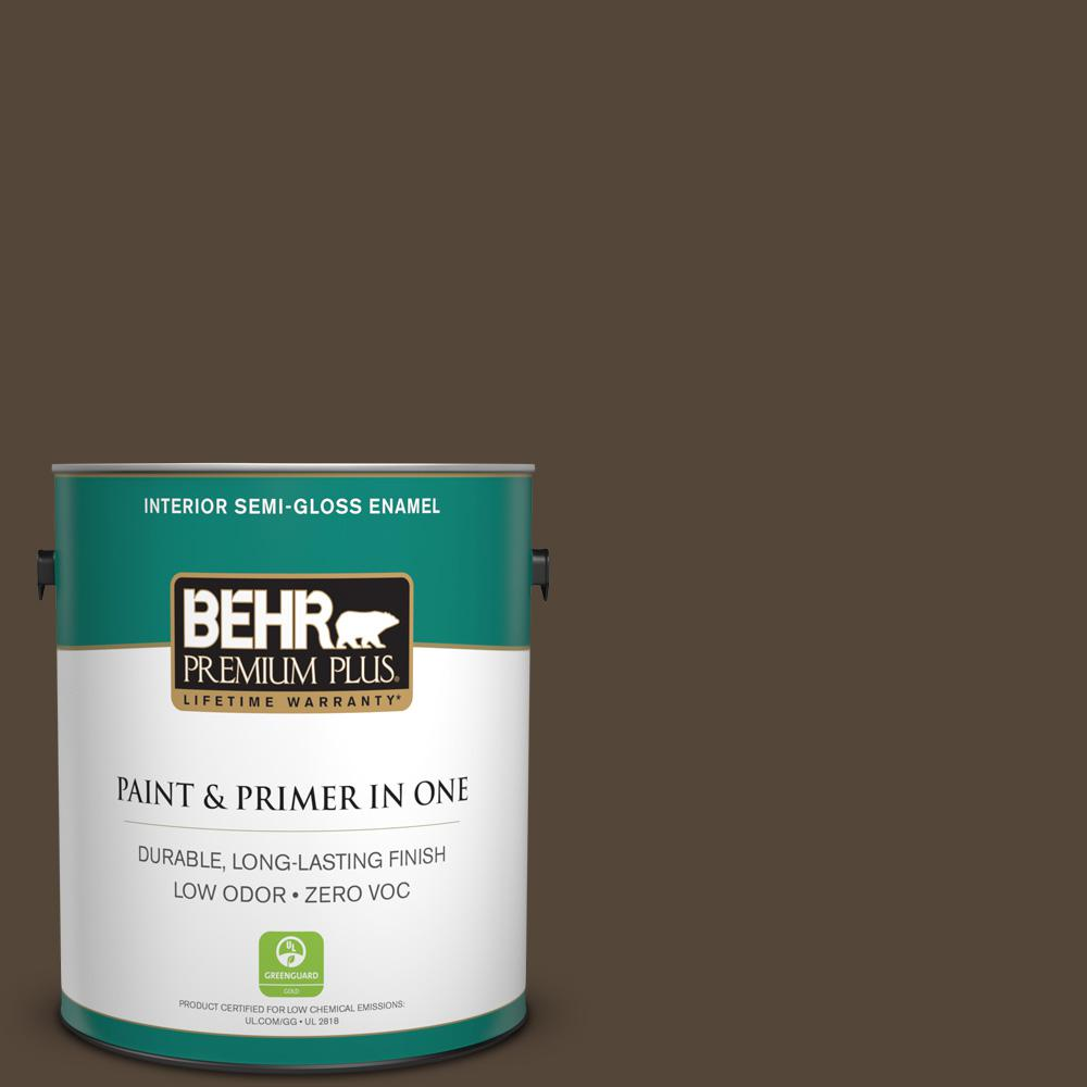 1-gal. #780B-7 Bison Brown Zero VOC Semi-Gloss Enamel Interior Paint