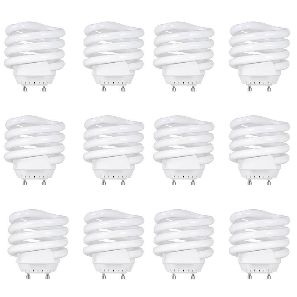 100W Equivalent Soft White (2700K) Spiral Squat GU24 CFL Light Bulb (12-Pack)