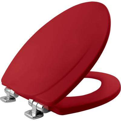 Chrome Slow Close Elongated Closed Front Toilet Seat in Red