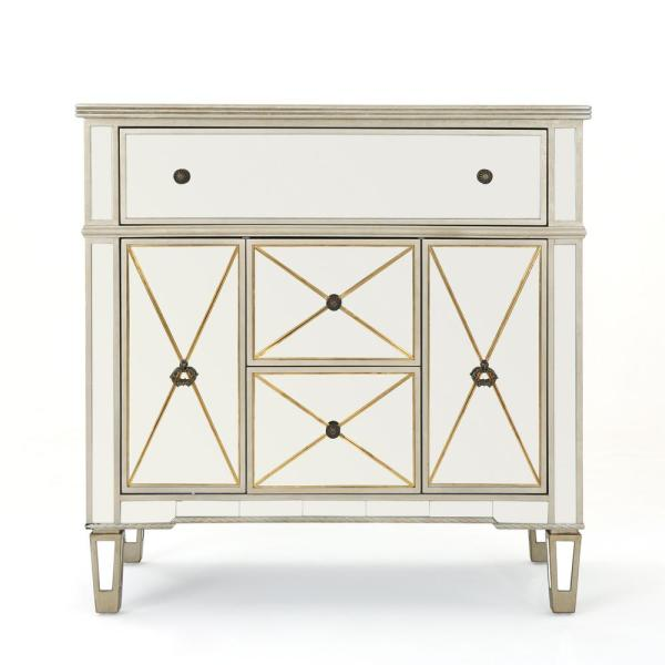 Noble House Fergus Gold Faux Wood Accent Cabinet with Mirrored Panels