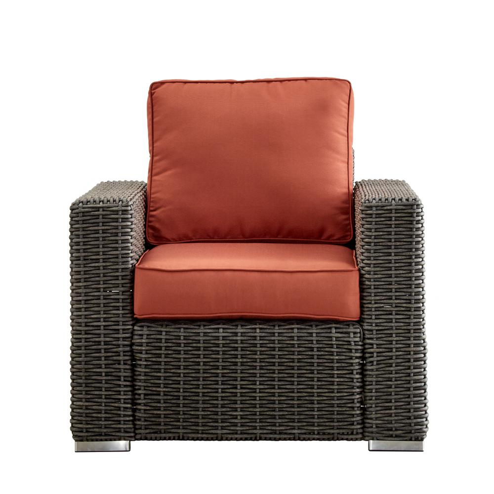 Square Arm Wicker Lounge Chair Gray 1305