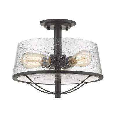 Lorinda 3-Light Bronze Semi-Flushmount with Clear Seedy Glass Shade