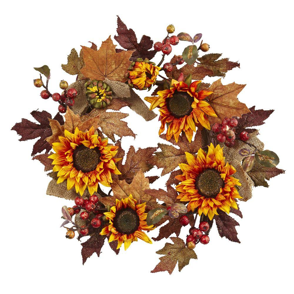 Nearly Natural 24 in. Artificial Sunflower and Berry Wreath