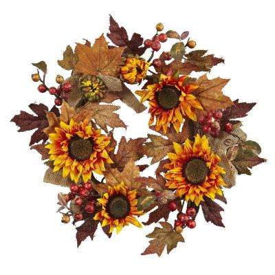 24in. Artificial Sunflower and Berry Wreath