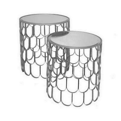 20 in. Silver Accent Table (Set of 2)