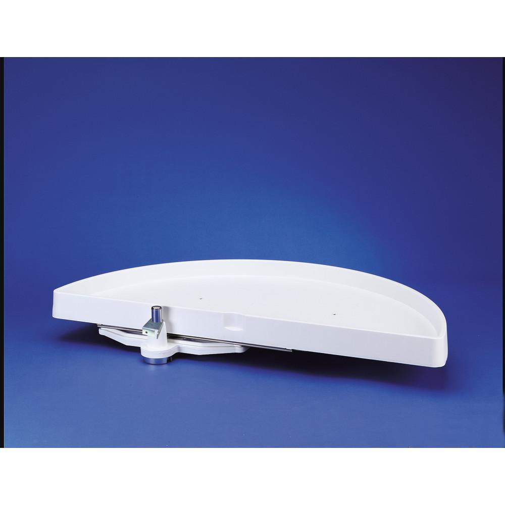 5 in. H x 18 in. W x 39 in. D White Polymer 1-Shelf Half Moon Door Mount Lazy Susan and Blind Corner Optimizer