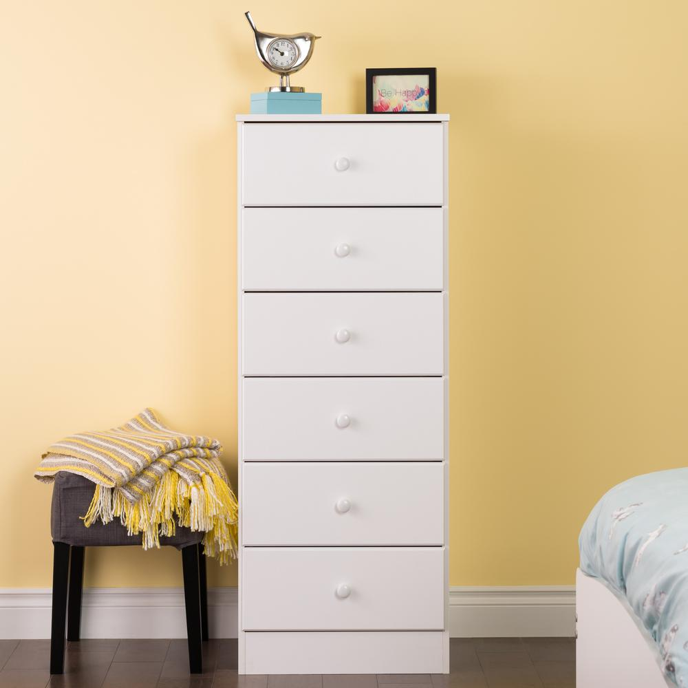 6 Drawer White Chest Vertical Dresser Bedroom Tall Clic Composite Wood