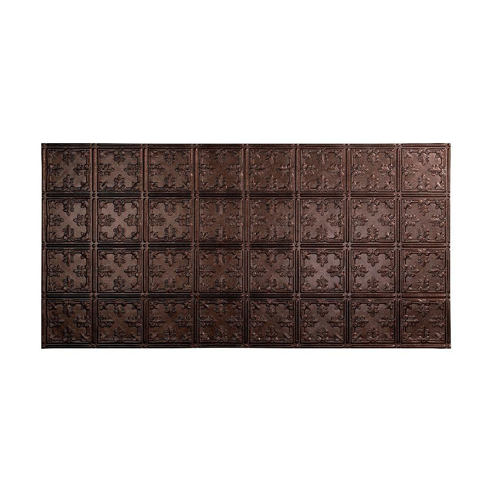 Fasade Traditional 10 - 2 ft. x 4 ft. Glue-up Ceiling Tile in Smoked Pewter