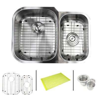 Undermount 16-Gauge Stainless Steel 29 in. x 20-3/4 in. x 9 in. 60/40 Offset Double Bowl Kitchen Sink Combo
