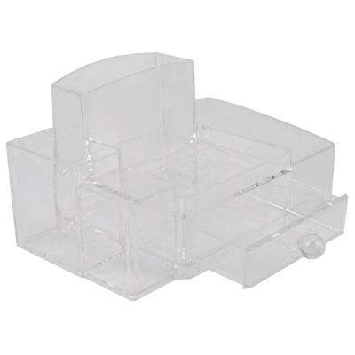 Deluxe Medium Shatter-Resistant Plastic Multi-Compartment Cosmetic Organizer with Easy Open Drawer in Clear