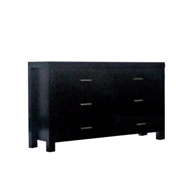 Classy 6-Drawer Black Dresser on Metal Glides 15.5 in. L x 58 in. W x 33.75 in. H