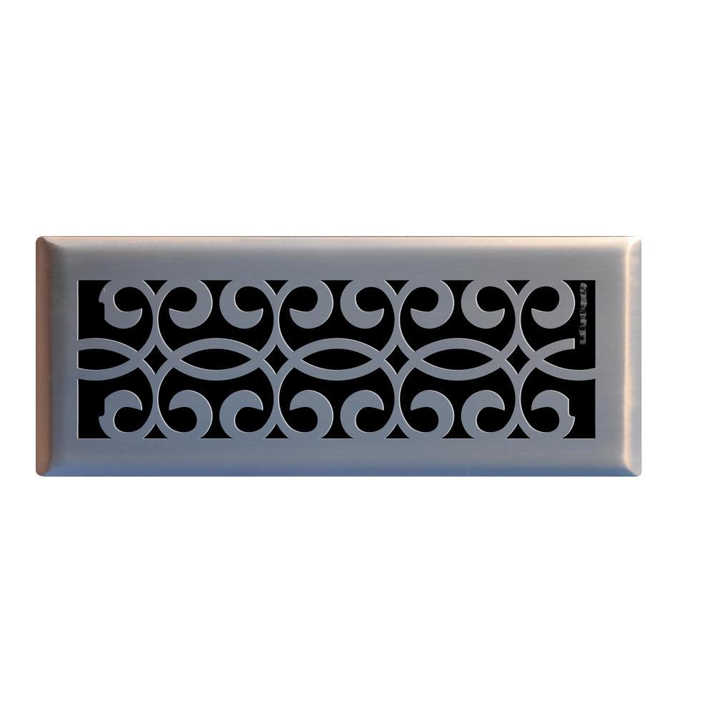 Classic Scroll 4 in. x 12 in. Steel Floor Register in Brushed Nickel