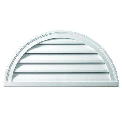 36 in. x 18 in. x 2 in. Polyurethane Functional Half Round Louver Gable Vent