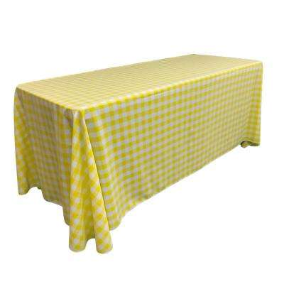 """90 in. x 132 in. White and Light Yellow Polyester Gingham Checkered Rectangular Tablecloth"""