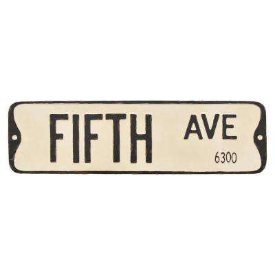 White Metal Novelty Sign-Fifth Ave
