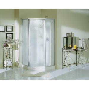 Sterling Economy 38 inch x 38 inch x 72 inch Corner Shower Kit with Shower Door in White/Silver by STERLING