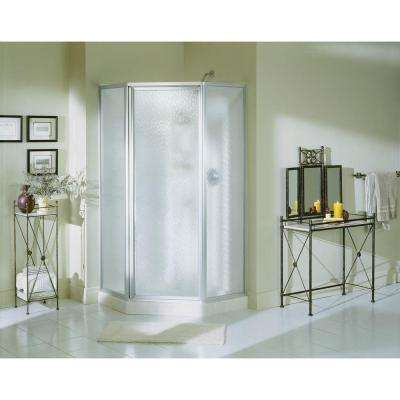 Economy 38 in. x 38 in. x 72 in. Corner Shower Kit with Shower Door in White/Silver