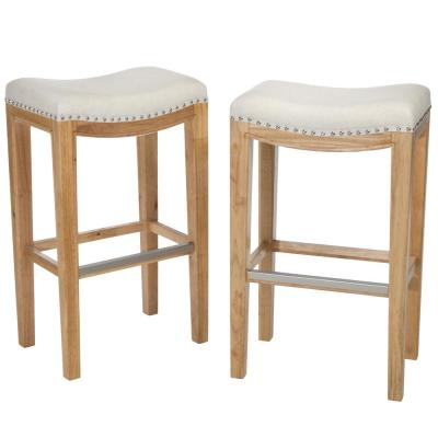 Avondale 30 in. Beige Backless Bar Stool (Set of 2)