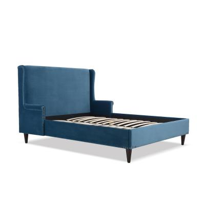 Clarice Wingback Accent Satin Teal Queen Bed