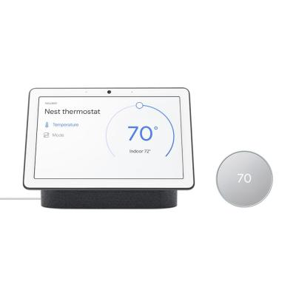 "Nest Thermostat Fog + Nest Hub Max 10"" Smart Display Charcoal"