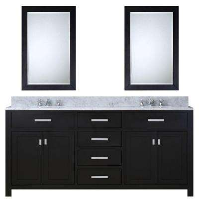 72 in. W x 21 in. D Vanity in Espresso with Marble Vanity Top in Carrara White, 2 Mirrors and Chrome Faucets