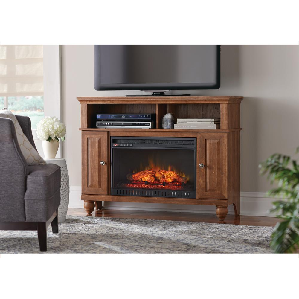 Add a finishing touch to any decor by choosing this Home Decorators Collection Ashurst Media Console Infrared Electric Fireplace in Walnut.