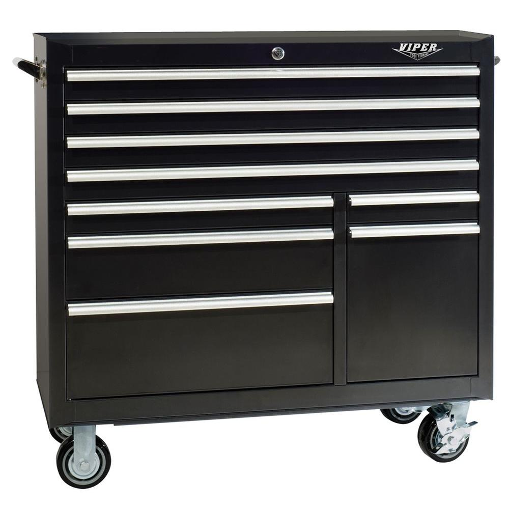 Viper Tool Storage 1 in. 9-Drawer Rolling Cabinet in Black