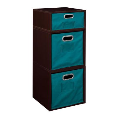 Cubo 13 in. x 32.5 in. Truffle 2 Full-Cube and 1 Half-Cube Organizer with Teal Foldable Storage Bins