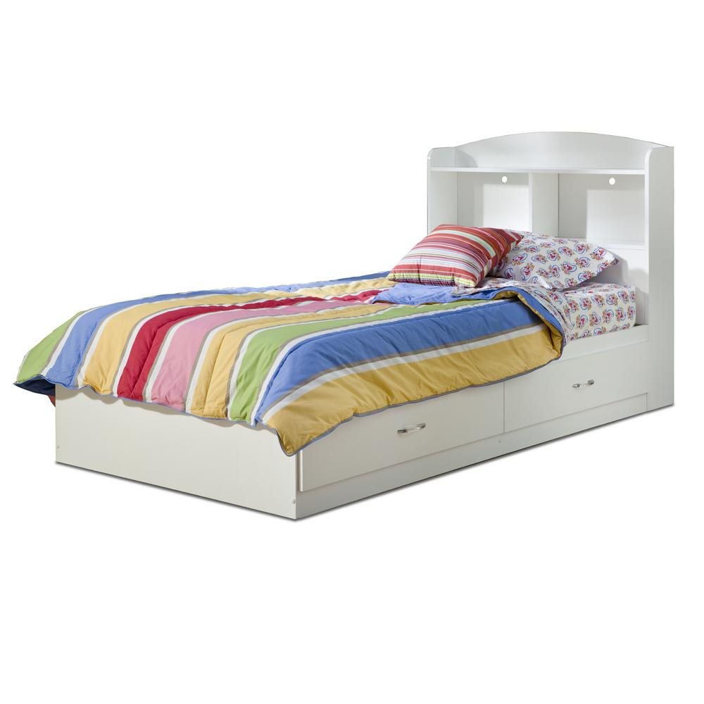 South Shore Logik 2-Drawer Twin-Size Storage Bed in Pure White