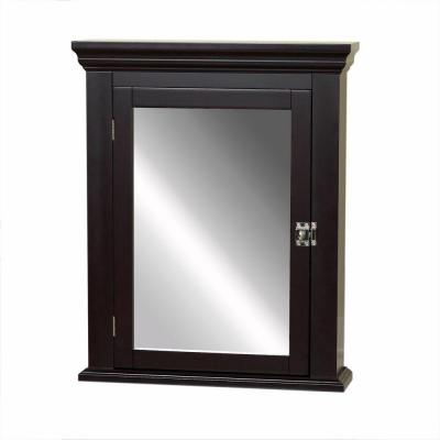 Early American 22.25 in. W x 27.25 in. H x 5.75 in. D Framed Surface-Mount Bathroom Medicine Cabinet in Espresso