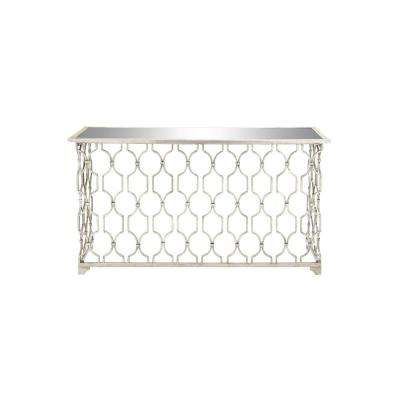 Silver Iron and Glass Rectangular Console Table
