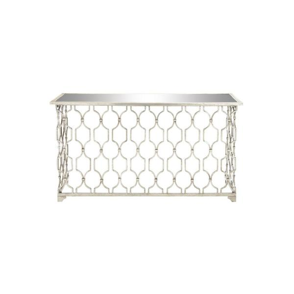 55 in. Silver Standard Rectangle Glass Console Table