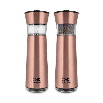 Easygrind Electric Gravity Salt and Pepper Grinder Set in Copper