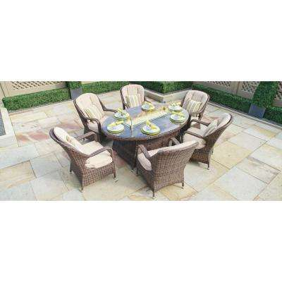 Eton Brown Oval Wicker Outdoor Fire Pit Dining Table