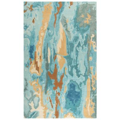 Flare Gray/Teal 9 ft. x 12 ft. Abstract Hand Tufted Wool Area Rug