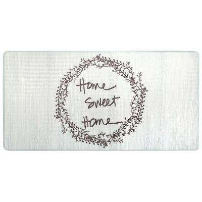 Cook N Comfort Cream Home Sweet Home 20 in. x 39 in. Kitchen Mat